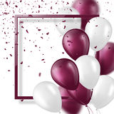3d balloons with confetti and frame. Festive illustration for holiday party design, blur effect, violet and white color. Vector illustration Royalty Free Stock Images