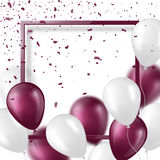 3d balloons with confetti and frame. Festive illustration for holiday party design, blur effect, violet and white color. Vector illustration Royalty Free Stock Photos