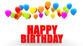 3d balloons and happy birthday text Stock Photo