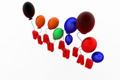 3d balloons plan head Stock Photo