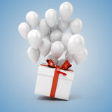 3d balloons and present box. On blue background Stock Photography