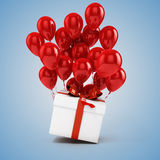3d balloons and present box. 3d red balloons and present box Royalty Free Stock Images