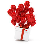 3d balloons and present box Stock Photo