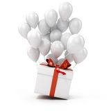 3d balloons and present box Royalty Free Stock Photography