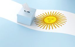 3d Ballot box, Argentina Elections 2019. Ballot box with argentina flag and voting paper. Argentina presidential Elections 2019. 3d illustration royalty free illustration