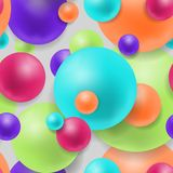 3d effect balls bright colorful seamless background. Realistic spheres pattern. Geometric design. Vector illustration. Stock Photography