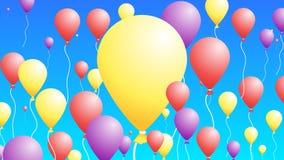 3D Baloons dans le ciel Fond coloré abstrait pour des cartes de voeux Images stock