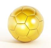 3d balowego złocistego wizerunku odosobniony piłki nożnej biel Zdjęcia Royalty Free