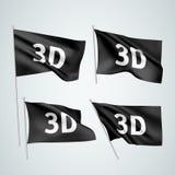 3D - bandeiras pretas do vetor Ilustração do Vetor