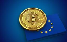 3d bandiera del bitcoin UE Immagine Stock Libera da Diritti