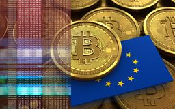 3d bandiera del bitcoin UE Fotografia Stock