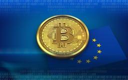 3d bandiera del bitcoin UE Fotografie Stock Libere da Diritti