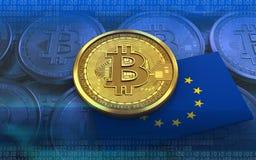 3d bandiera del bitcoin UE Fotografia Stock Libera da Diritti