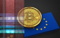 3d bandiera del bitcoin UE Fotografie Stock