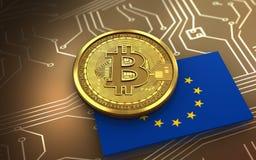 3d bandiera del bitcoin UE Immagine Stock