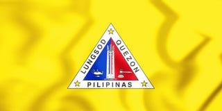 3D bandiera di Quezon City, Filippine illustrazione vettoriale