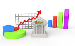 3d bank building with different graphs. 3d render of bank building with different graphs Stock Photos