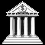 3D bank building. 3D bank building isolated on black background Stock Photos