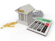3d bank building and money with calculator. 3d render of bank building and money with calculator Stock Photography