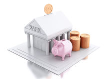 3d Bank building with money coins and piggy bank. 3d renderer image. Bank building with money coins and pink piggy bank.  white background Royalty Free Stock Image
