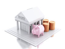 3d Bank building with money coins and piggy bank. 3d renderer image. Bank building with money coins and pink piggy bank.  white background Stock Photography