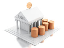 3d Bank building with money coins. 3d renderer image. Bank building with money coins.  white background Stock Image