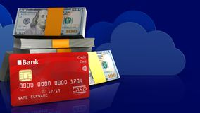 3d bank card. 3d illustration of dollars stack over clouds background with bank card Stock Photography
