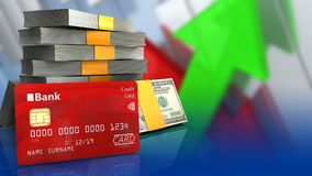 3d bank card. 3d illustration of money stack over arrows graph background with bank card Stock Photography