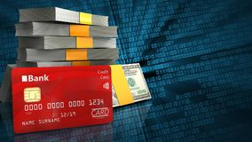3d bank card. 3d illustration of money stack over binary background with bank card Royalty Free Stock Photo