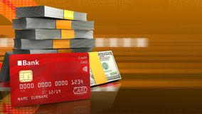 3d bank card. 3d illustration of money stack over orange cyber background with bank card Royalty Free Stock Photography