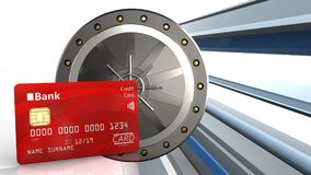 3d bank card. 3d illustration of valut door over abstract lines background with bank card Stock Photography