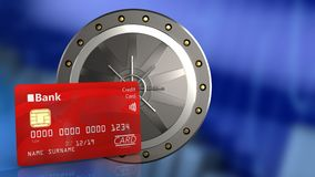3d bank card. 3d illustration of valut door over blue graph background with bank card Stock Photo
