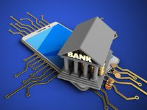 3d bank. 3d illustration of white phone over blue background with electronic circuit and bank Stock Image