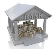 3D bank and dollars. In the design of the information related to finance and business Stock Image