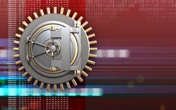 3d bank door bank door. 3d illustration of bank door  over digital red background Royalty Free Stock Images