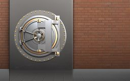 3d bank door bank door. 3d illustration of metal box with bank door over red bricks background Stock Photo