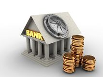 3d bank door. 3d illustration of Bank over white background with bank door Stock Photography
