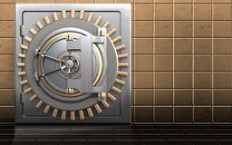3d bank door metal safe. 3d illustration of metal safe with bank door over golden wall background Stock Photo