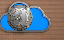 3d bank door safe. 3d illustration of cloud with bank door over bricks wall background Stock Photos