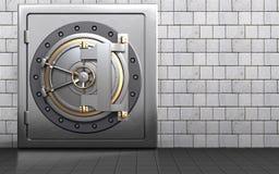 3d bank door safe. 3d illustration of metal safe with bank door over white stones background Stock Image