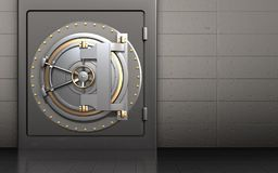 3d bank door safe. 3d illustration of metal safe with bank door over iron wall background Royalty Free Stock Photos