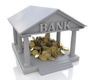 3D bank en gouden muntstukken Stock Foto