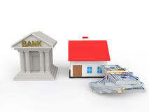 3d bank house loan concept. 3d render of bank house loan concept Royalty Free Stock Image