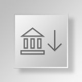 3D Bank icon Business Concept. 3D Symbol Gray Square Bank icon Business Concept Royalty Free Stock Photography