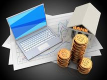 3d bank. 3d illustration of diagram papers and white laptop over black background with bank Royalty Free Stock Images