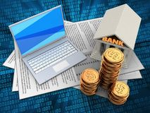 3d bank. 3d illustration of documents and white laptop over digital background with bank Stock Images