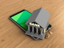 3d bank. 3d illustration of mobile phone over wooden background with bank Royalty Free Stock Images