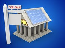 3d Bank. 3d illustration of Bank over blue background with solar panel and sale sign Stock Images