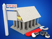 3d Bank. 3d illustration of Bank over blue background with wrench and sale sign Royalty Free Stock Images