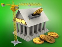 3d Bank. 3d illustration of Bank over green background with coins and crane Royalty Free Stock Photo